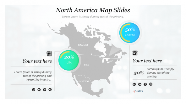 FREE Presentation Template Maps: North America PowerPoint Template