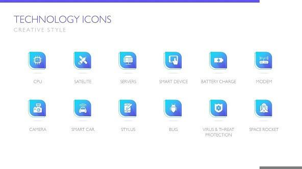 FREE Technology Creative Icon Pack PowerPoint Template