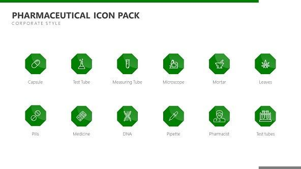 FREE Pharmaceutical Icons Template Pack PowerPoint Template