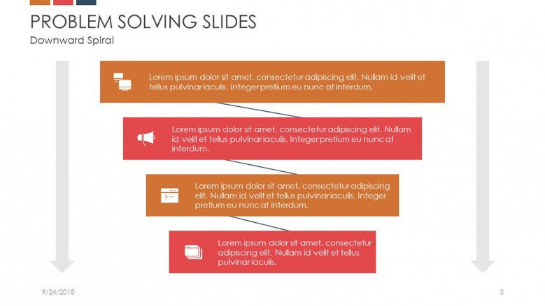problem solving slide in funnel with four stages