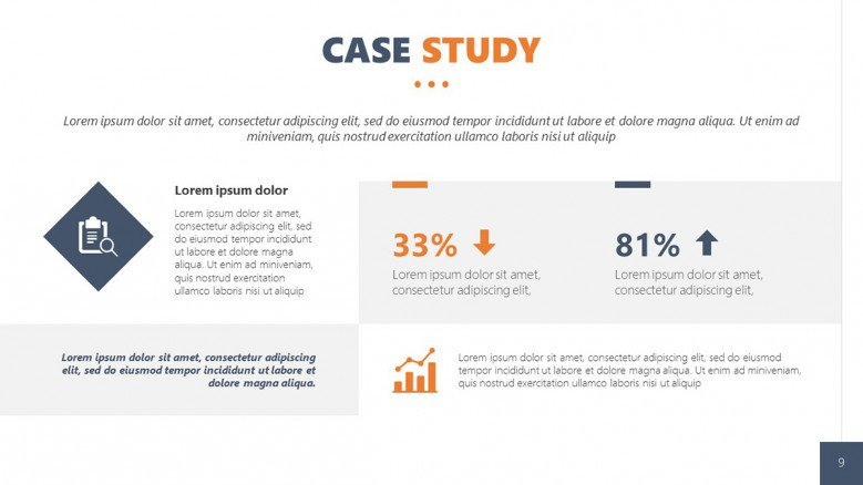 Client Case Study Slide for qualitative and quantitative data in corporate style