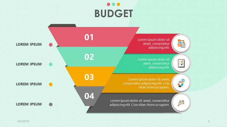 funnel chart for budget presentation in four section with icon and text