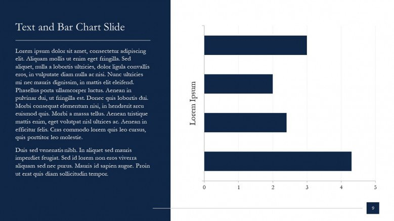 McKinsey Text Slide with Bar charts in blue