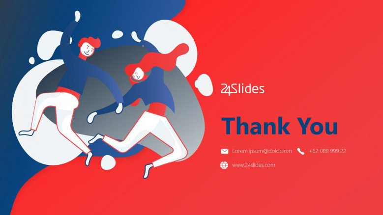 Illustrated Thank You Slide in blue and red
