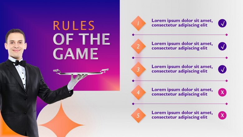 Game Rules Slide in creative style