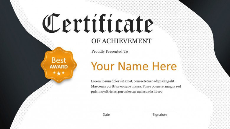 Elegant Certificate of Achievement Slide