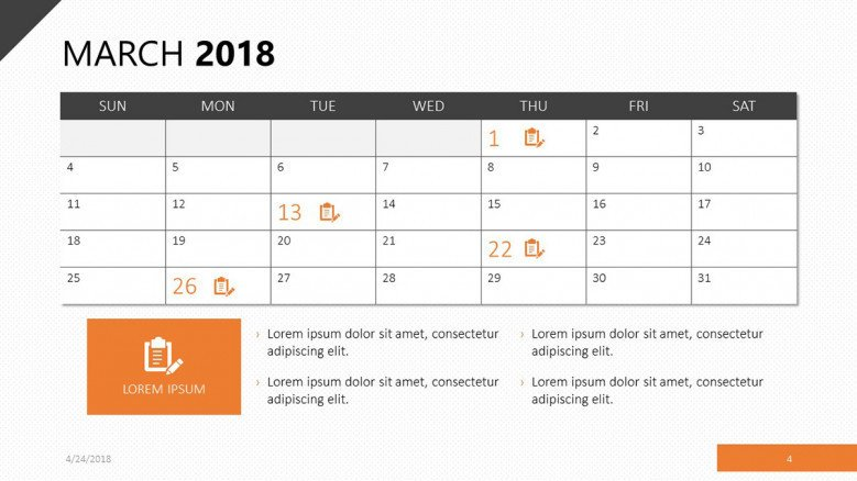 march 2018 calendar with events agenda
