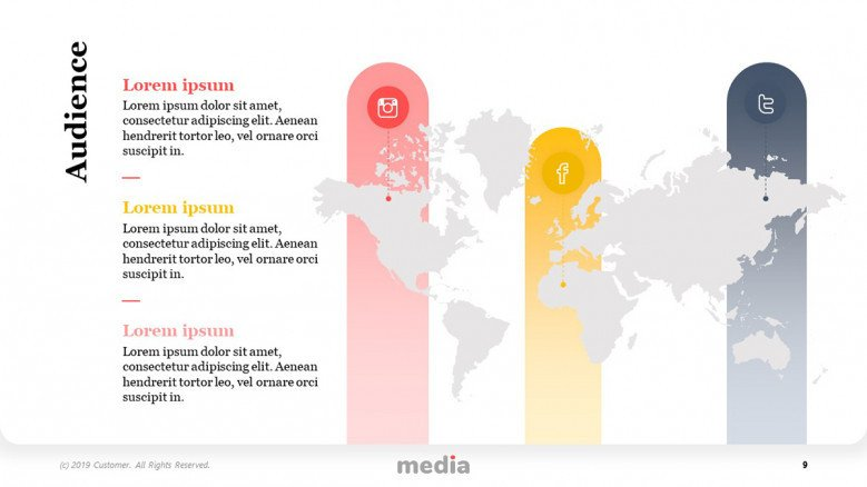 Social Media Audience Slide with a world map graphic