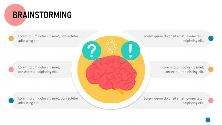 Brainstorming session's questions slide in playful style