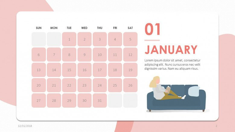2019 calendar january in creative style with illustration
