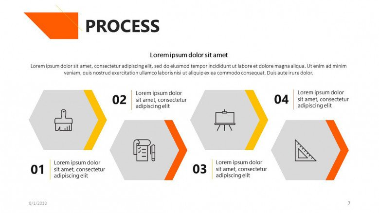 process slide for academic presentation with icons and text