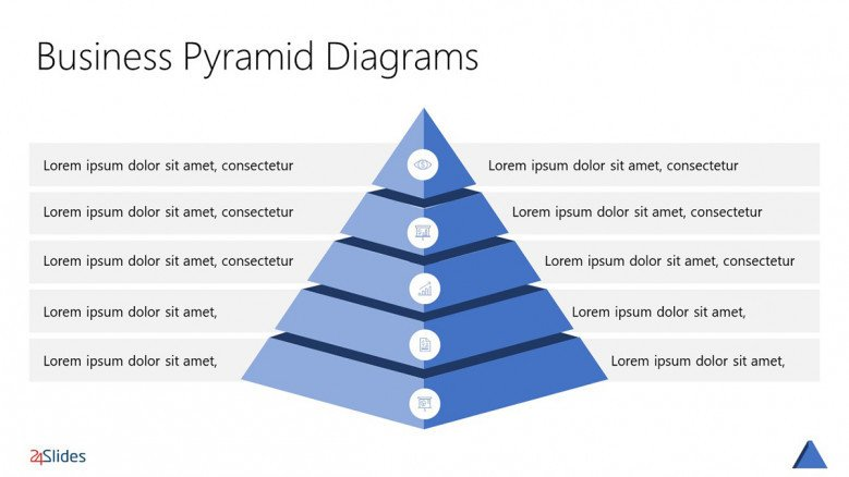 3D Pyramid Chart with five layers in blue
