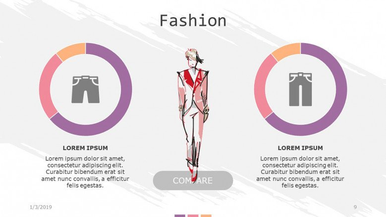 fashion slide with compared pie chart