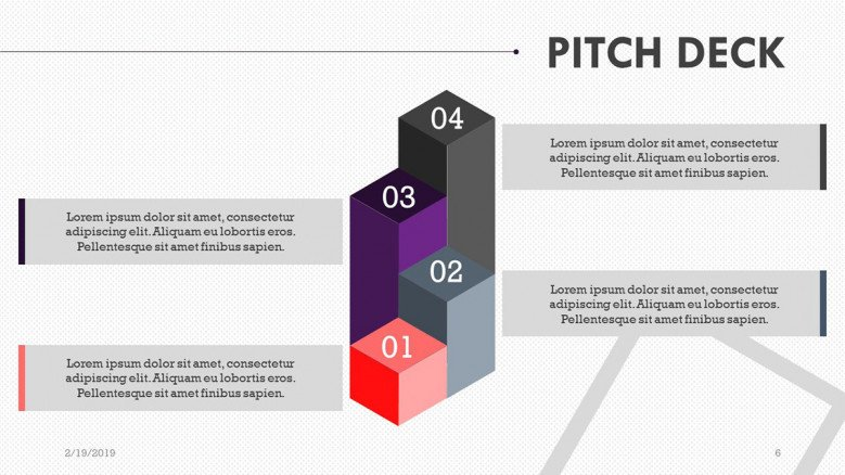 pitch deck presentation in 3d blocks bar chart