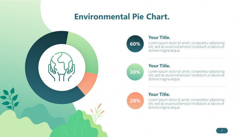 environmental playful pie chart with three key points in icon and text