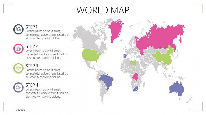 world map slide with steps and texts