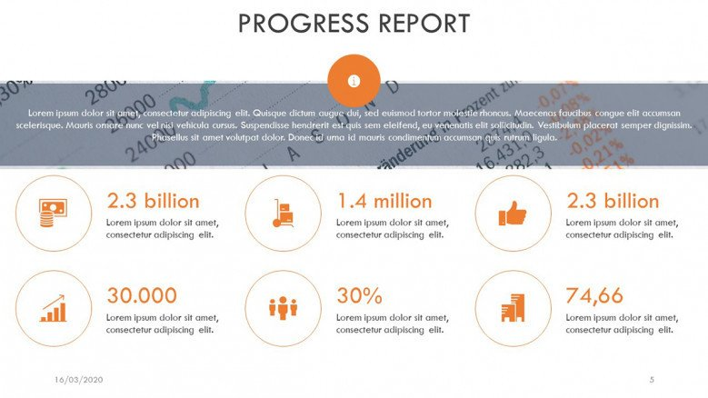Milestones Report Slide with business icons