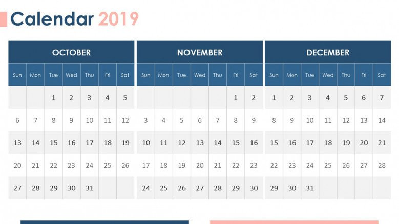 2019 calendar october, november, december with description text