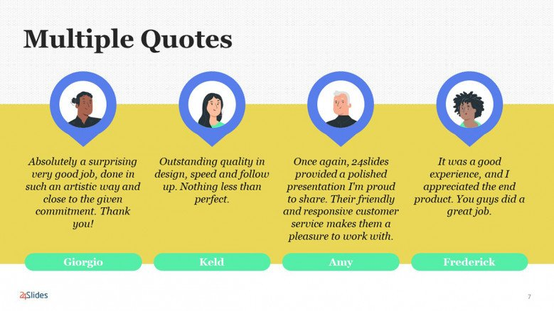 Multiple Quotes PowerPoint Template in playful style