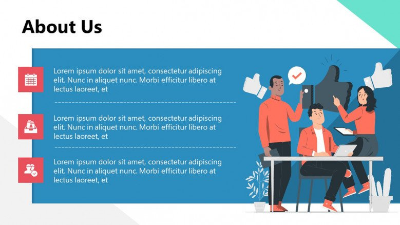 About us Slide with creative illustrations for startups