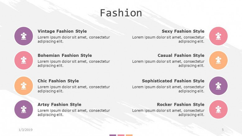 fashion slide with key factors and icons