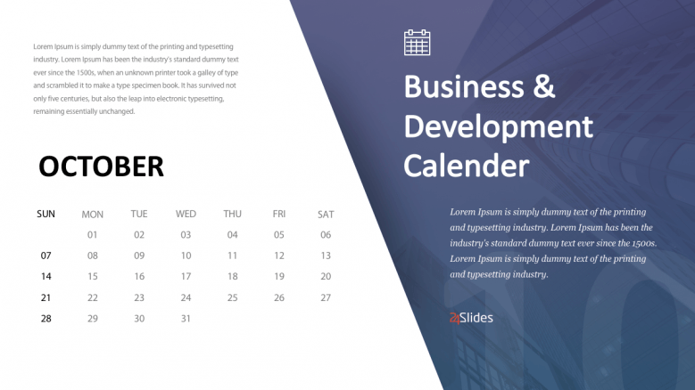 October business calendar slide
