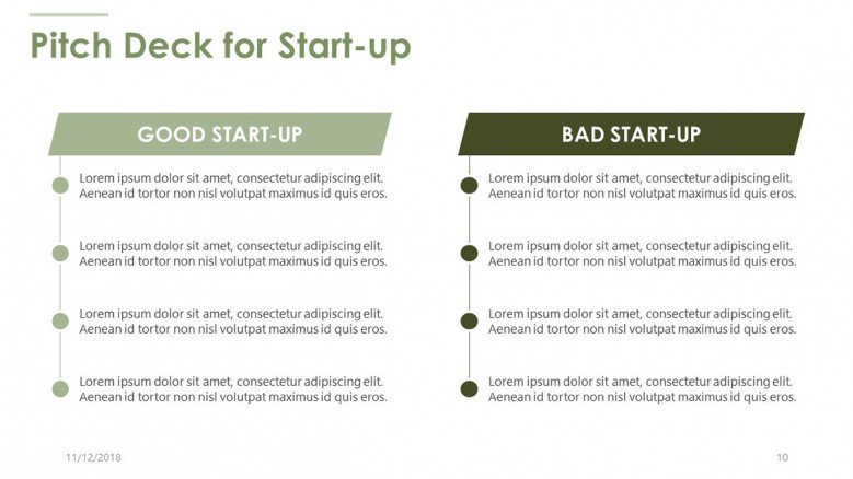 pitch deck for start up in bullet points text