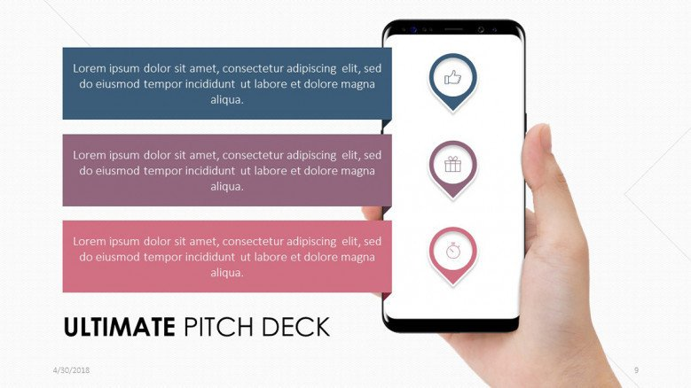 pitch deck slide in mobile app with three key factors