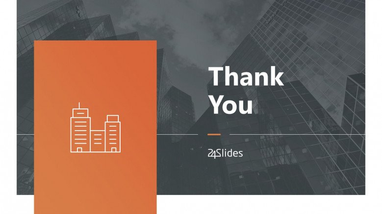 Grey and orange Thank You Slide in creative style