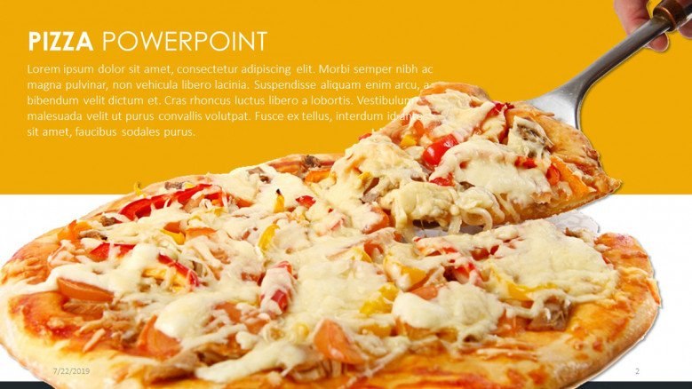 Text slide with an appetizing pizza image
