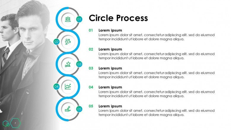 timeline slide in circle process in five key steps