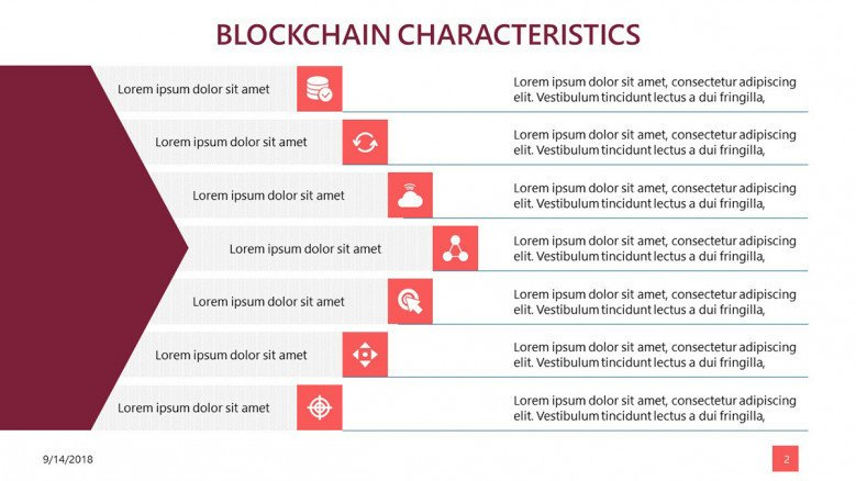 block chain data slide in seven key factors with icons