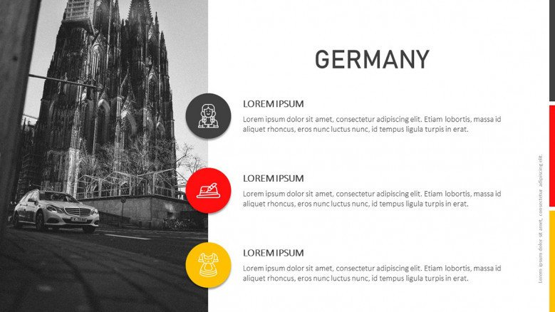 Germany Information slide with colorful icons and black and white image