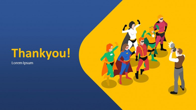 Thank you slide with superhero graphics