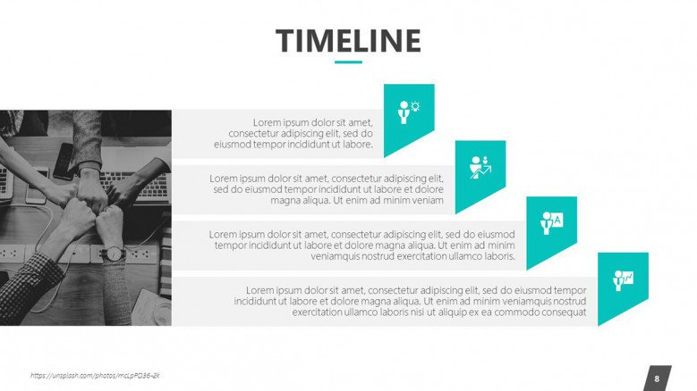 timeline slide in descriptive key points