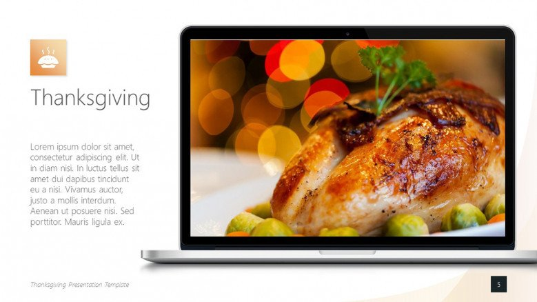 Text Slide for Thanksgiving presentation with an image of a roasted turkey