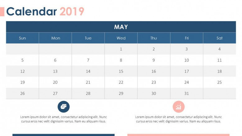 2019 calendar may with description text