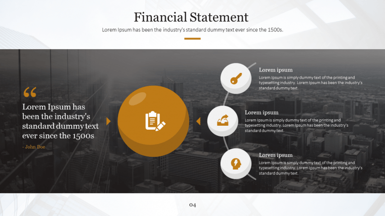 financial slide with three key factors
