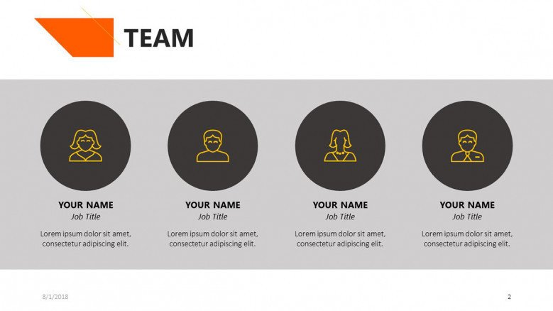 team profile slide with roles description
