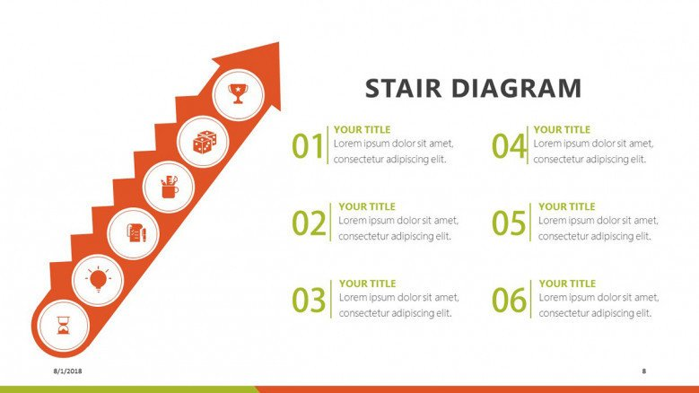 stair diagram in six steps with description text