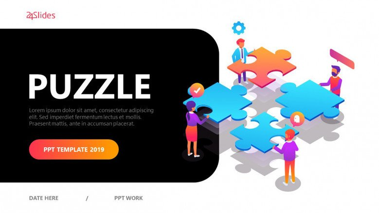 Puzzle Presentation Template in playful style