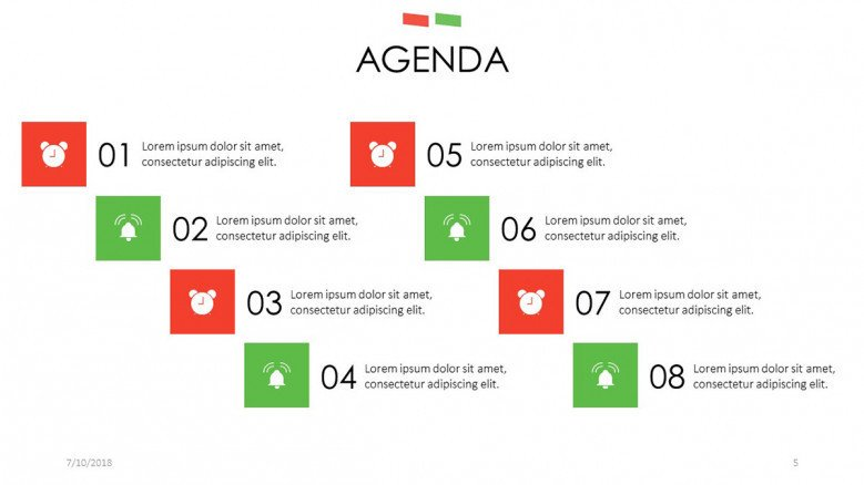 agenda slide with icons and key points of description text