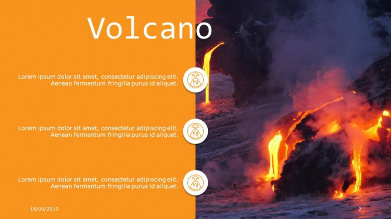 Creative three-points list with icons and volcano image