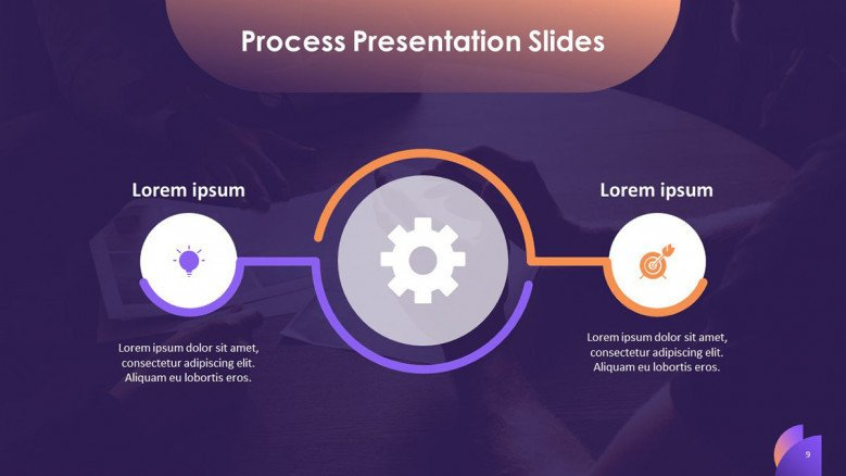 process slide overview in two key factors with icons and text