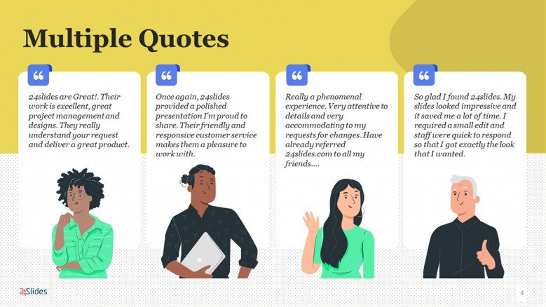 Illustrated PowerPoint Slide with multiple quotes