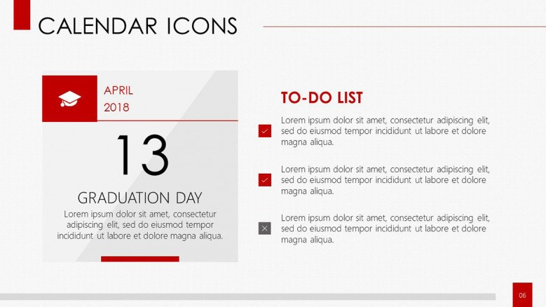 calendar with icons to-do-list in bullet points
