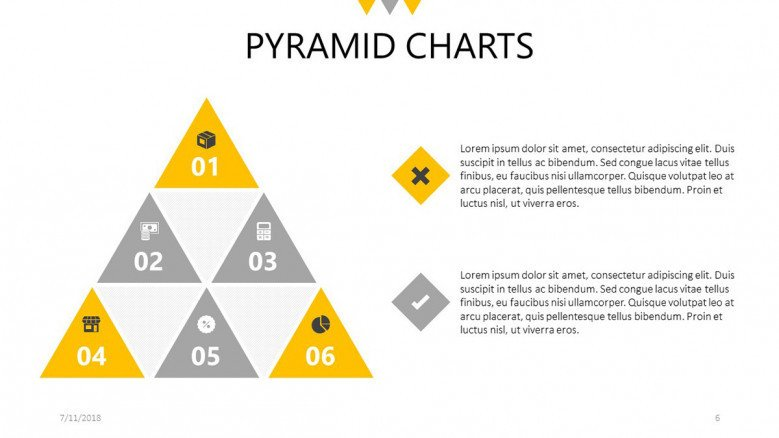 triangles pyramid chart slide with text