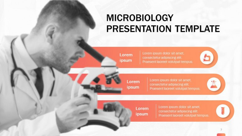 Microbiology slide in creative style featuring a scientist looking through a microscope