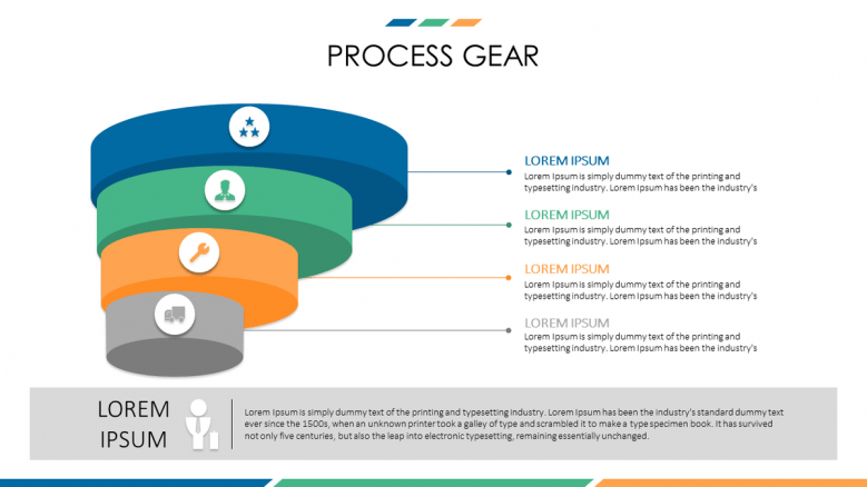 business presentation in process gear slide with four steps