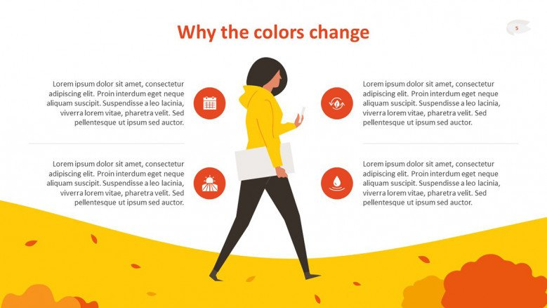 Gold and orange text slide featuring an Illustration of a girl in a hoodie walking